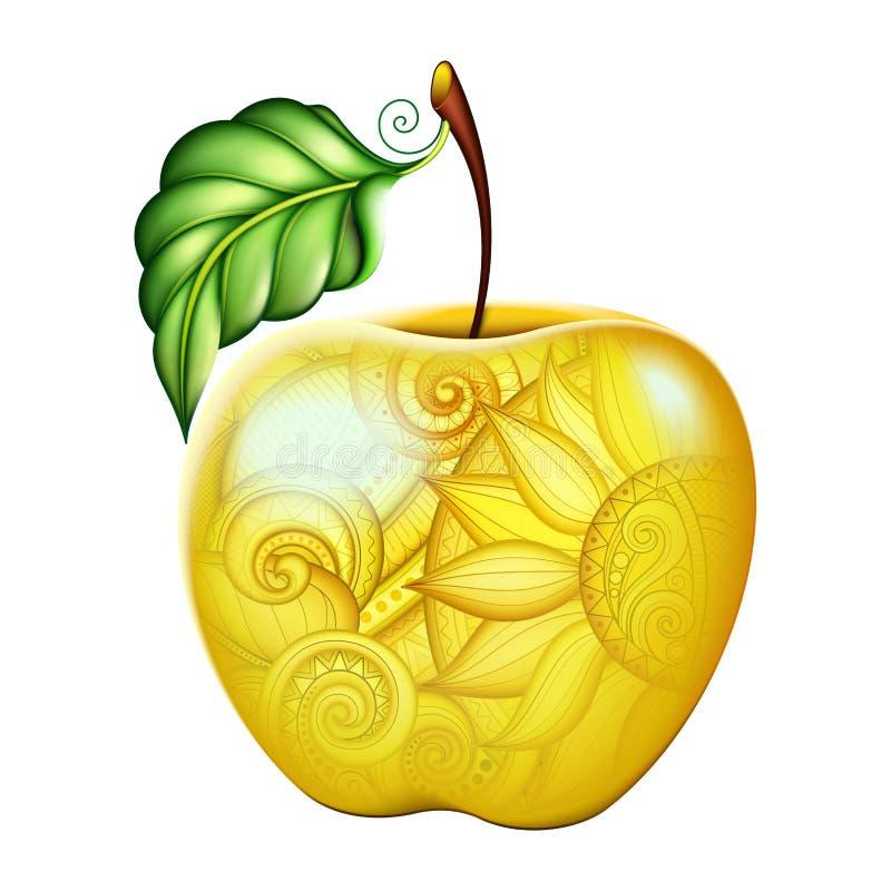 Vektor färgade gula Apple med den härliga blom- prydnaden royaltyfri illustrationer