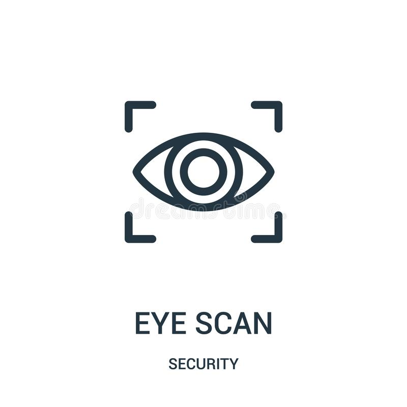 vektor för ögonbildläsningssymbol från säkerhetssamling Tunn linje illustration för vektor för symbol för ögonbildläsningsöversik royaltyfri illustrationer