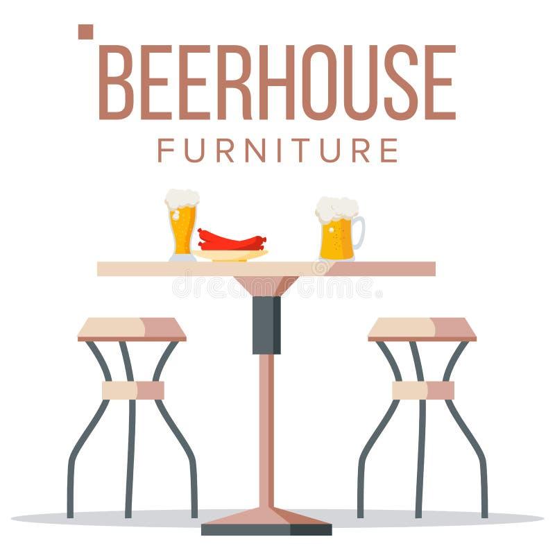 Vektor för ölhusmöblemang Bryggerirånar trätabellen, stolar, öl stång Beståndsdel för alkoholpartidesign Isolerat framlänges royaltyfri illustrationer