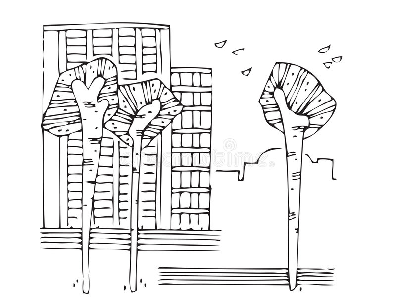 vektor för 2 föroreningtrees royaltyfri illustrationer
