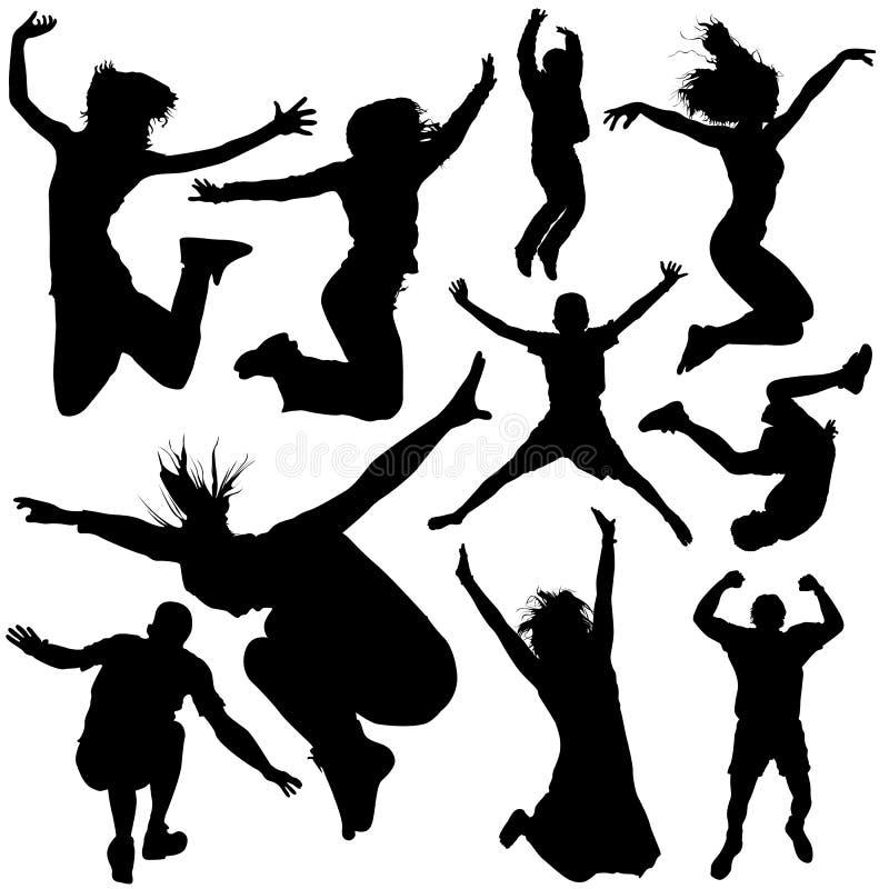 vektor för 2 hoppa folk vektor illustrationer