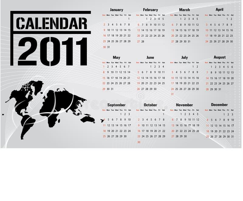 vektor för 2011 kalender stock illustrationer