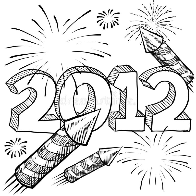 vektor för 2012 fyrverkerier vektor illustrationer