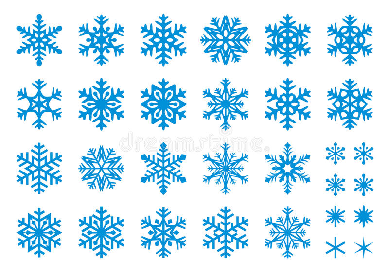 vektor för 30 set snowflakes royaltyfri illustrationer