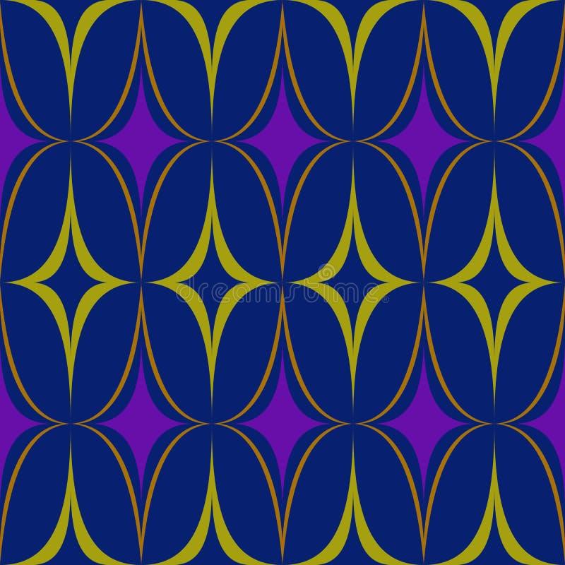 Vektor för abstraktion för guling för oval för blått för rombmodelllilor vektor illustrationer