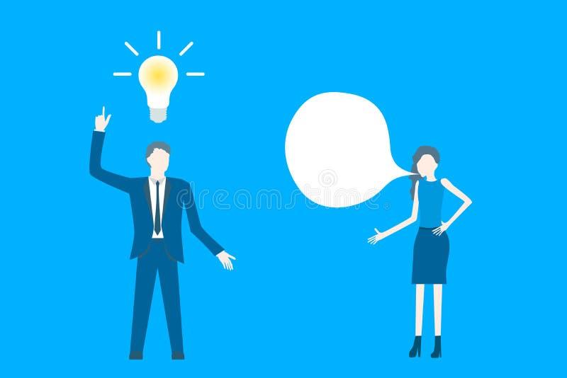 Vektor för affärslägenhetdesign med en affärskvinnaidékläckning med hans kollega stock illustrationer