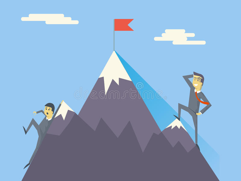 Vektor för affärsmanCharacters Achievement Top flagga royaltyfri illustrationer