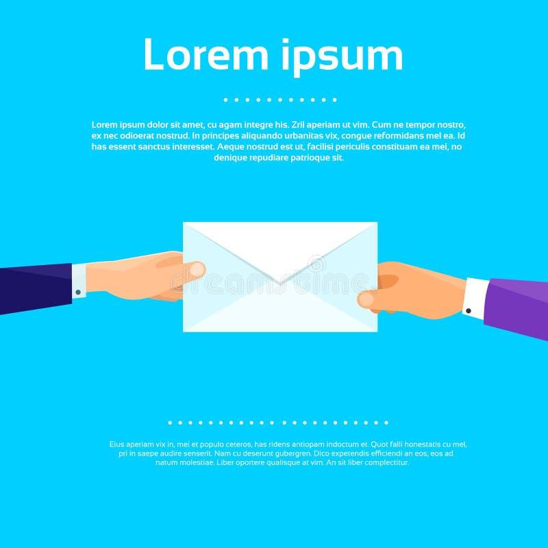 Vektor för affärsmanHands Give Envelope lägenhet royaltyfri illustrationer