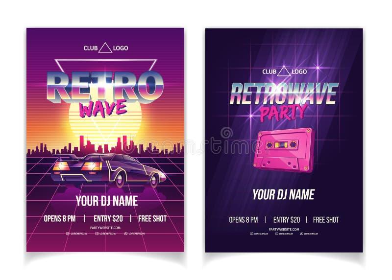 Vektor för affisch för annons för nattklubb för Retrowave musikparti stock illustrationer