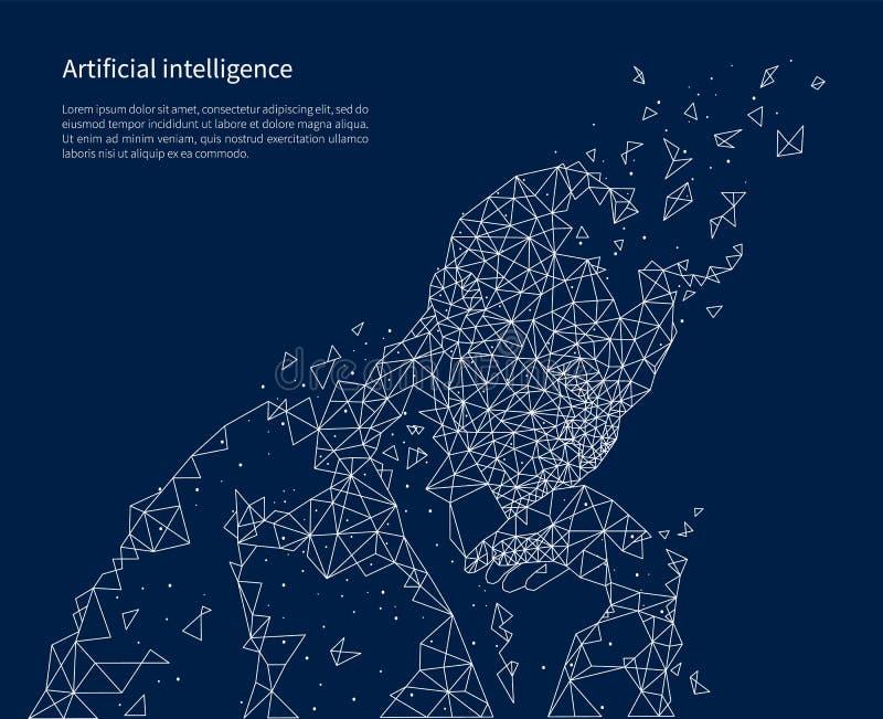 Vektor för affisch för konstgjord intelligens upplyst royaltyfri illustrationer