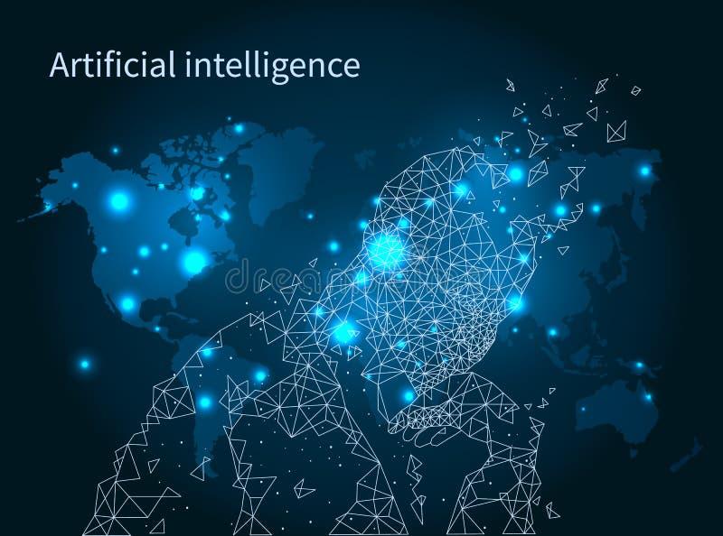 Vektor för affisch för nätverk för översikt för konstgjord intelligens stock illustrationer