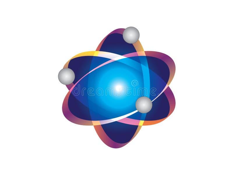 Vektor för atomlogosymbol royaltyfri illustrationer