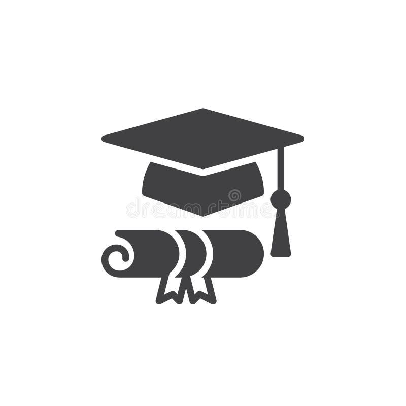 Vektor för avläggande av examenhatt- och diplomsymbol, fyllt plant tecken, fast pictogram vektor illustrationer