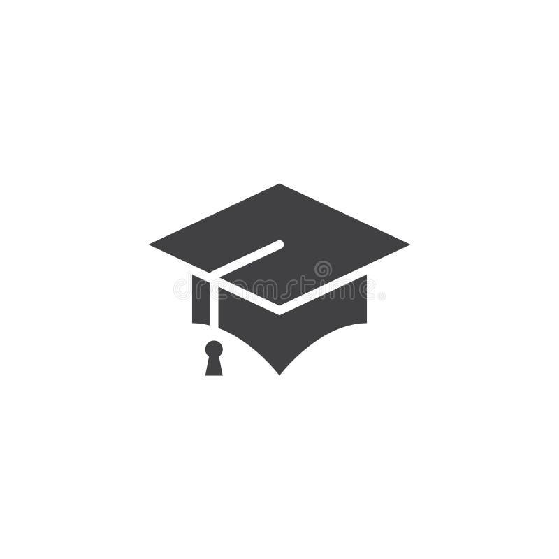 Vektor för avläggande av examenlocksymbol, fast logo för akademikermössa, pictogram stock illustrationer