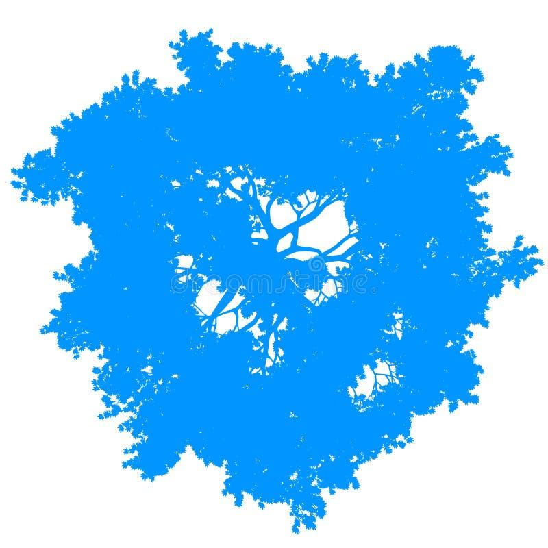 Vektor för bästa sikt för träd isolerad - blått - kontur stock illustrationer