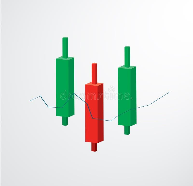 Vektor för börs för ljusstakediagramsymbol royaltyfri illustrationer