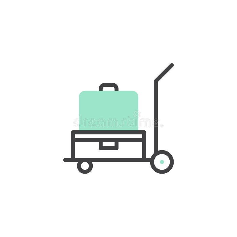 Vektor för bagagespårvagnsymbol royaltyfri illustrationer