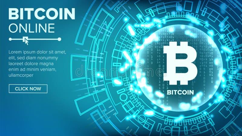 Vektor för bakgrund för Bitcoin abstrakt begreppteknologi binär kod Fintech Blockchain kryptografi Cryptocurrency bryta royaltyfri illustrationer