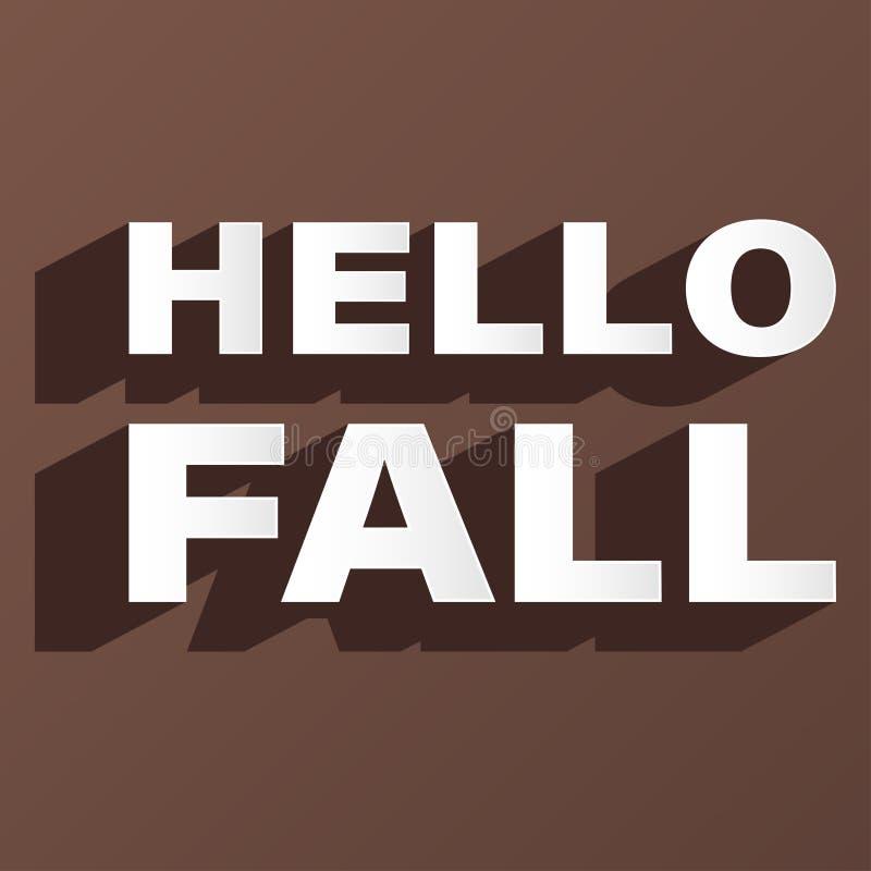 Vektor för bakgrund för brunt för stilsort för Hello nedgång idérik stock illustrationer