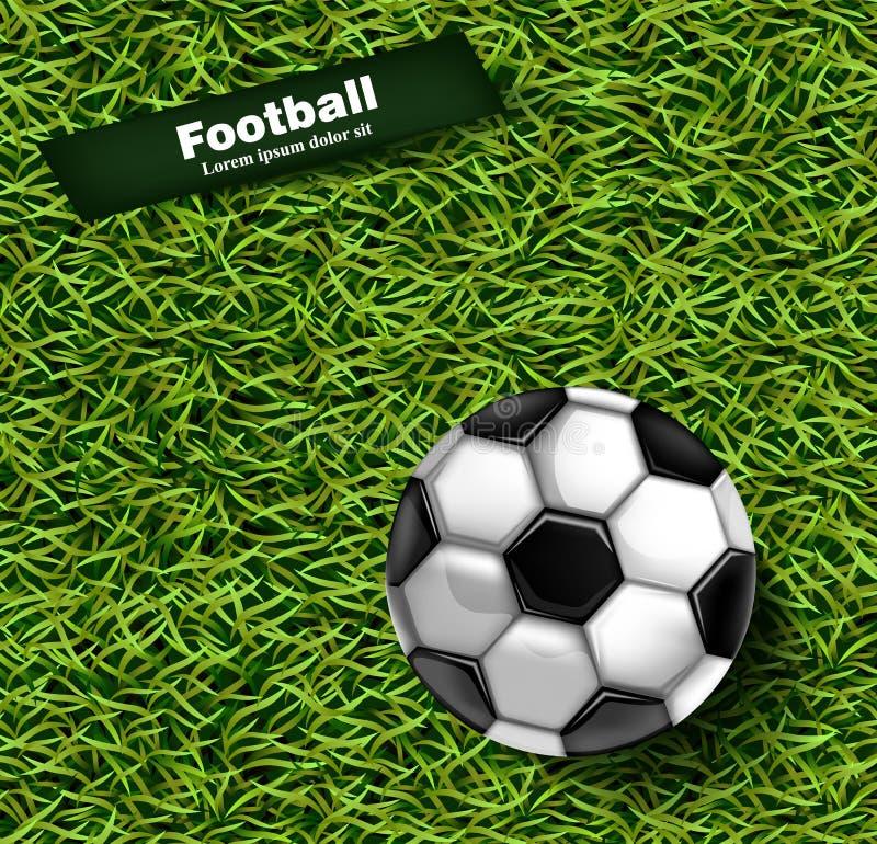 Vektor för bakgrund för grönt gräs för fotboll Detaljerade illustrationer för realistisk boll 3d stock illustrationer