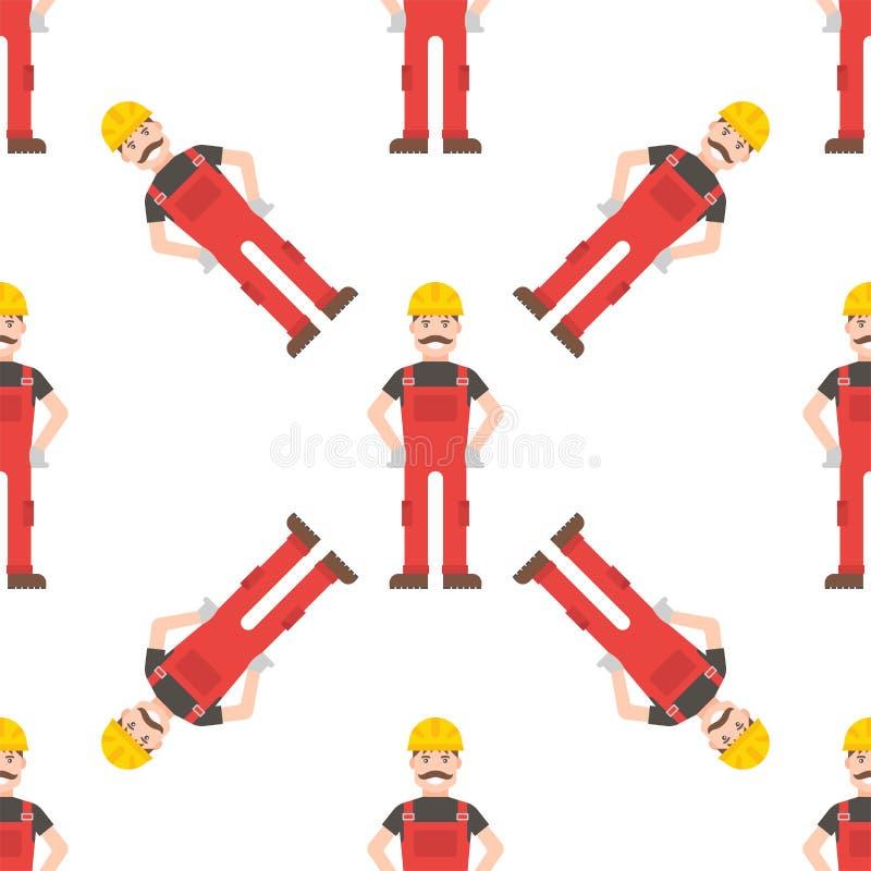 Vektor för bakgrund för modell för Caucasian för tecken ung man för byggmästare säker sömlös vektor illustrationer