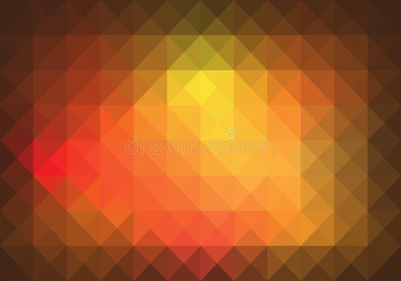 Vektor för bakgrund för mosaik för polygon för abstrakt röd signaltriangel låg royaltyfri illustrationer