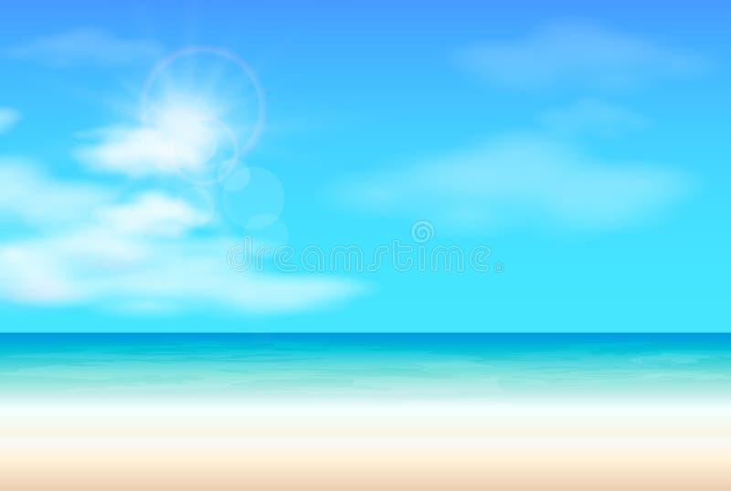 Vektor för bakgrund för sommar för tropiskt strandhav, hav varm stock illustrationer