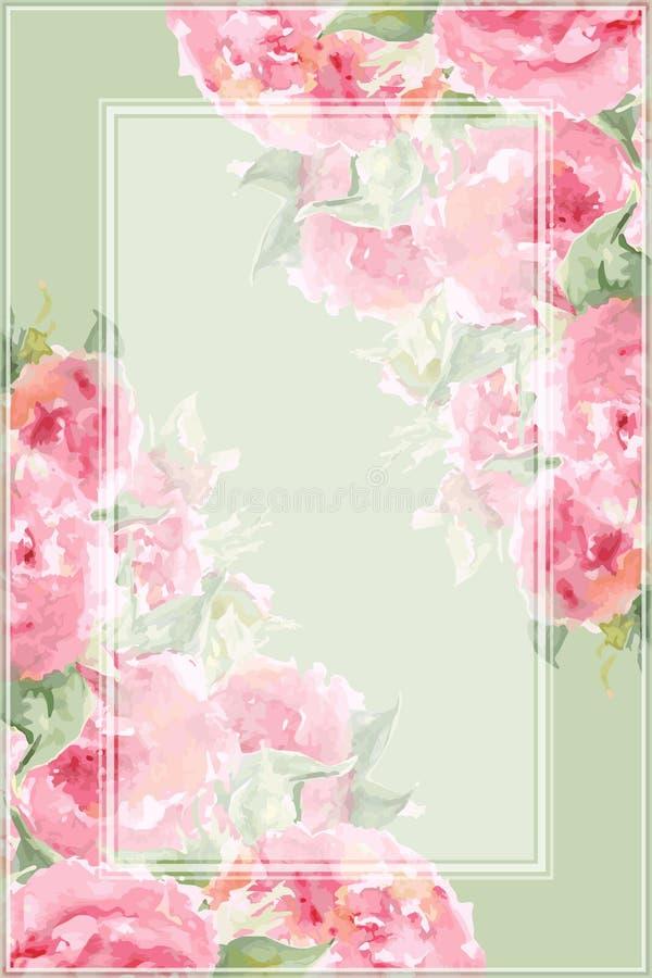 Vektor för bakgrund för tempel för gräns för ram för sammansättning för rosa blomma för pion för rosa te för vattenfärg blom- stock illustrationer