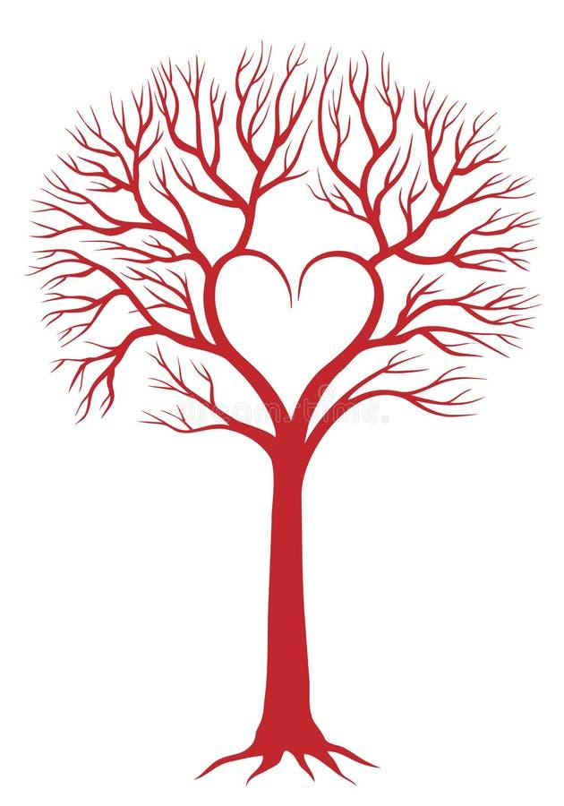 vektor för bakgrundshjärtatree stock illustrationer