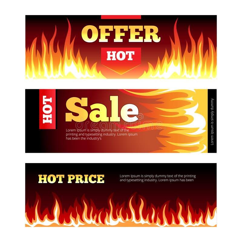 Vektor för baner för brinnande försäljning för brand varm horisontal vektor illustrationer