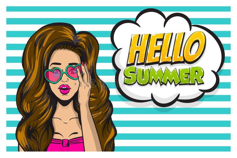 Vektor för baner för konst för pop för flicka för sommartid stock illustrationer