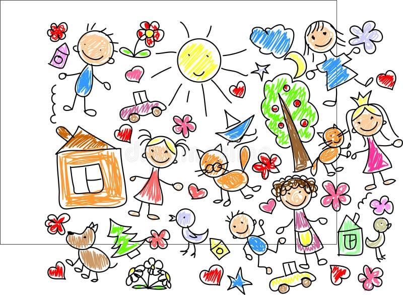 vektor för barnteckningar s stock illustrationer