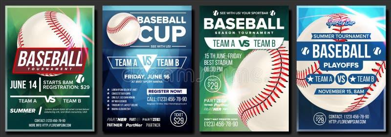 Vektor för baseballaffischuppsättning Design för befordran för sportstång _ skjuten studio för boll baseball Modern turnering Mod vektor illustrationer