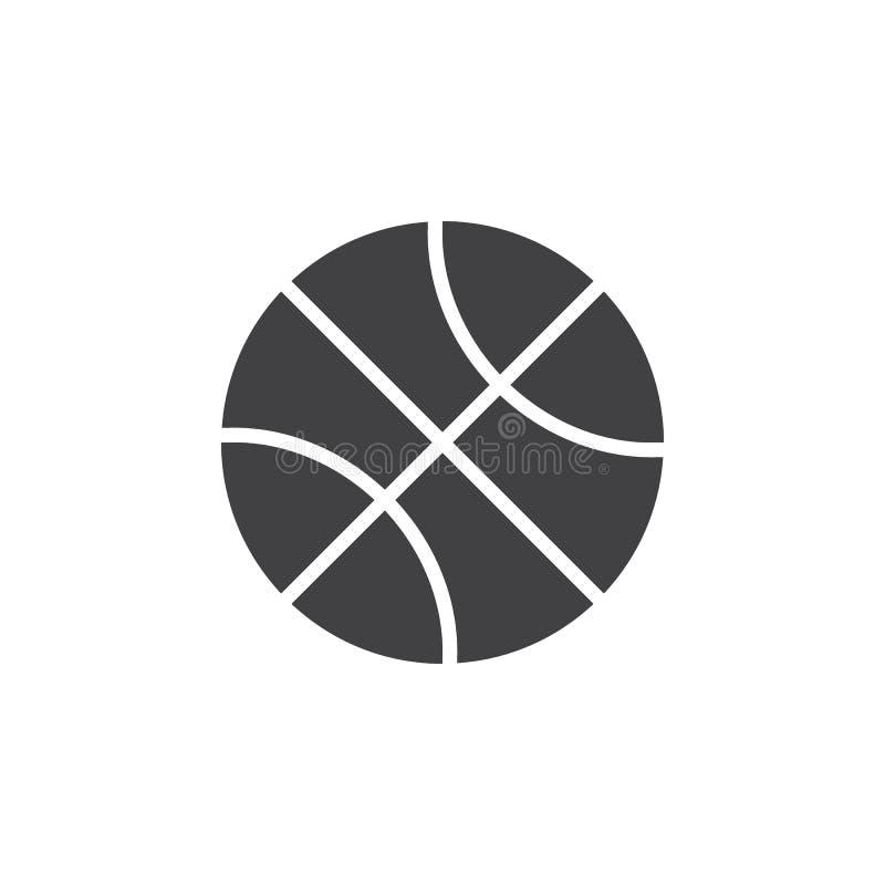 Vektor för basketbollsymbol, fyllt plant tecken royaltyfri illustrationer
