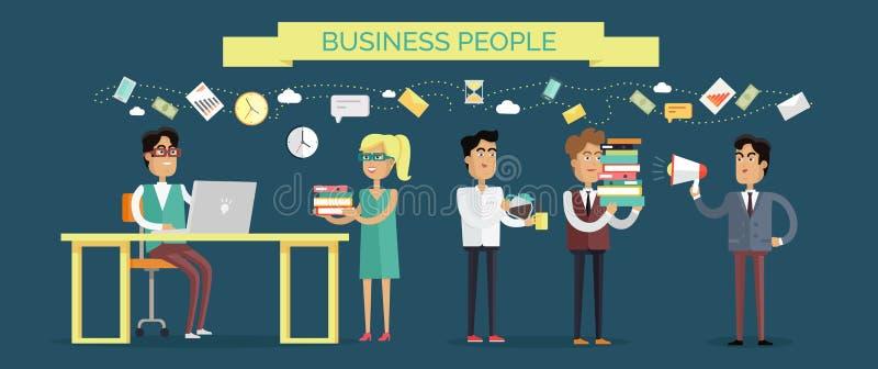 Vektor för begrepp för affärsfolk i plan design royaltyfri illustrationer
