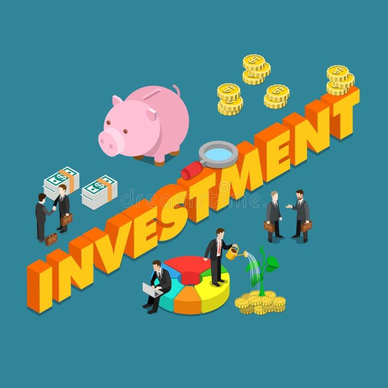 Vektor för begrepp för lägenhet 3d för affärsfinansinvestering isometrisk stor stock illustrationer