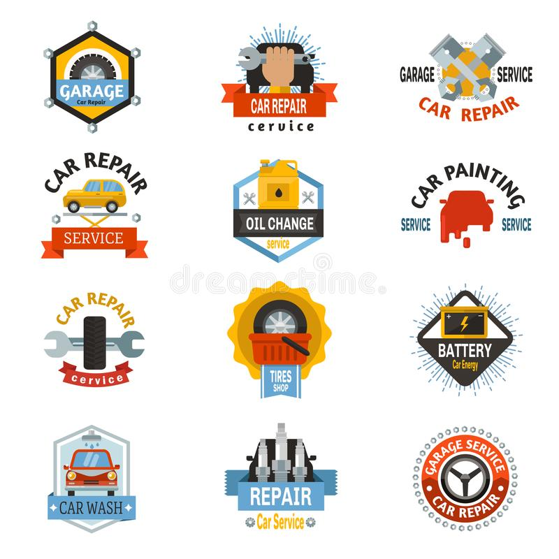 Vektor för begrepp för garage för medel för bil för design för mall för mekaniker för emblem för emblem för logo för bilreparatio vektor illustrationer