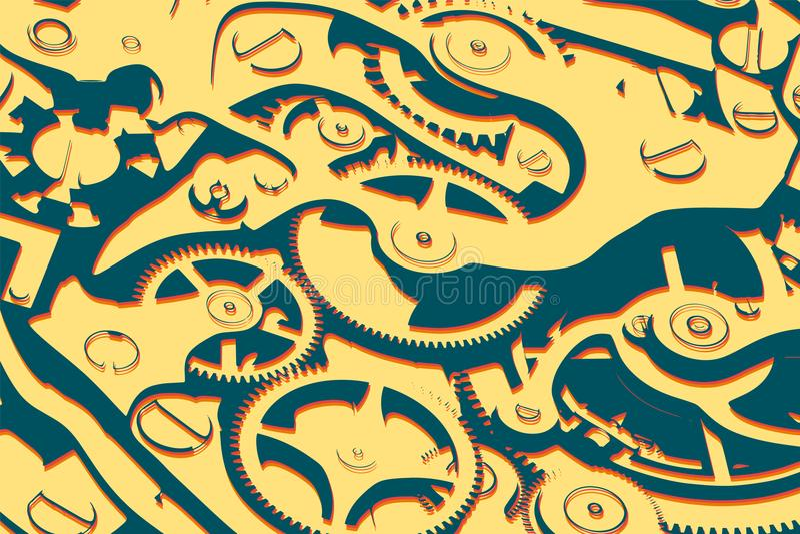 Vektor för begrepp för rengöringsduk för armbandsurmekanismlägenhet 3d isometrisk med kugghjul Färgrika dynamiska hipsterdiagram vektor illustrationer