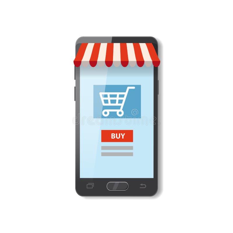 Vektor för begrepp för tecknad film för lager mobil för shoppinge-kommers online-supermarket och elektronisk affär, försäljningar royaltyfri illustrationer