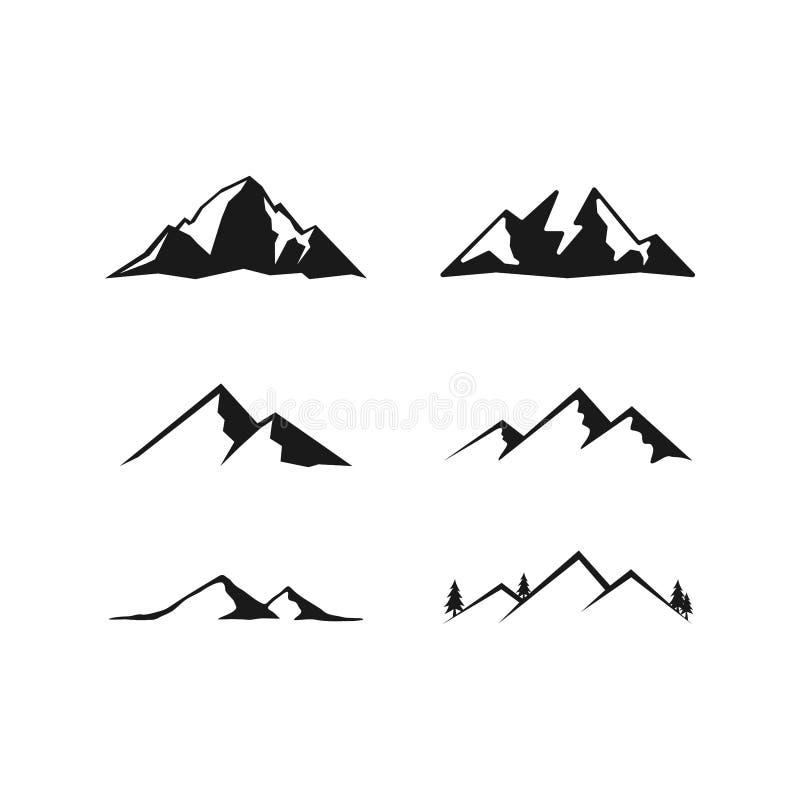 Vektor för berglogodesigner, utomhus- logodesigninspiration royaltyfri illustrationer