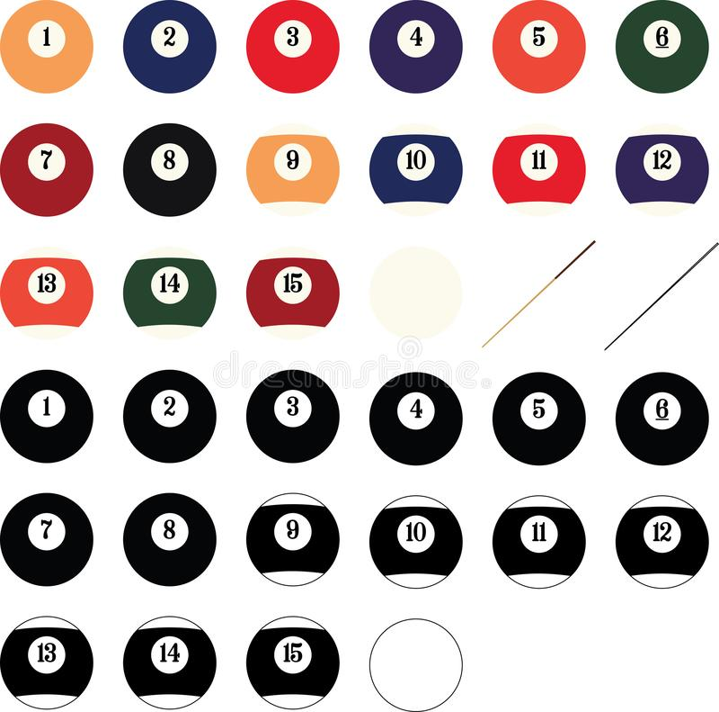 Vektor för Billiardbollar, Eps, logo, symbol, konturillustration vid crafteroks för olikt bruk Bes?ka min website p? https://craf royaltyfri illustrationer