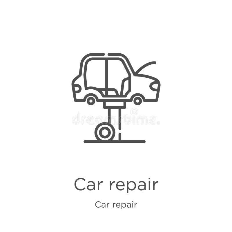 vektor för bilreparationssymbol från bilreparationssamling Tunn linje illustration för vektor för symbol för bilreparationsöversi royaltyfri illustrationer