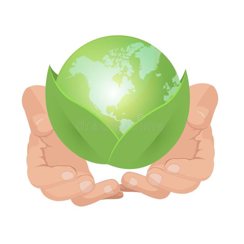 Vektor för blad för grön jord för handhåll stock illustrationer