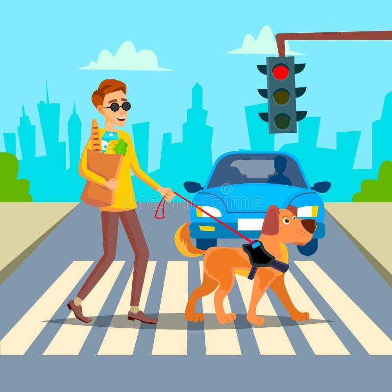 Vektor för blind man Ungt Person With Pet Dog Helping följe HandikappSocializationbegrepp Blinda Person And Guide royaltyfri illustrationer