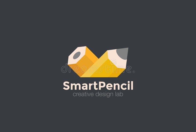 Vektor för blyertspennalogoabstrakt begrepp Idérika Art Design S vektor illustrationer