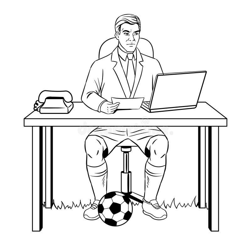 Vektor för bok för affärsmanfotbollfärgläggning stock illustrationer