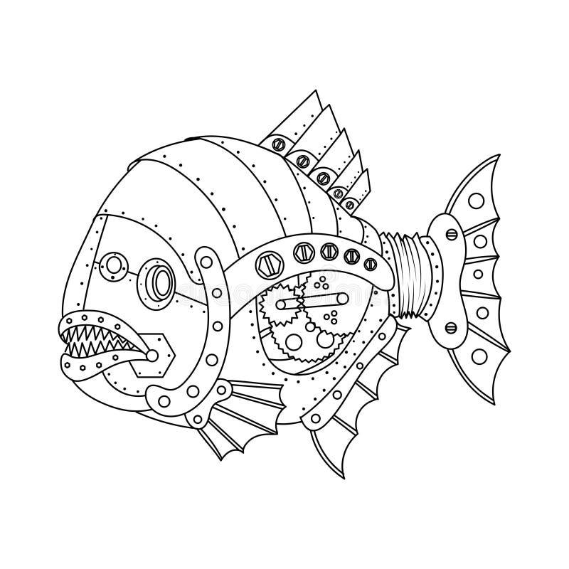 Vektor för bok för färgläggning för fisk för Steampunk stilpiranha vektor illustrationer