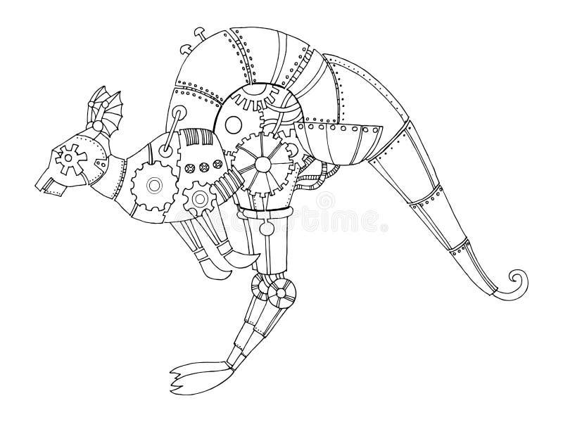 Vektor för bok för färgläggning för Steampunk stilkänguru vektor illustrationer