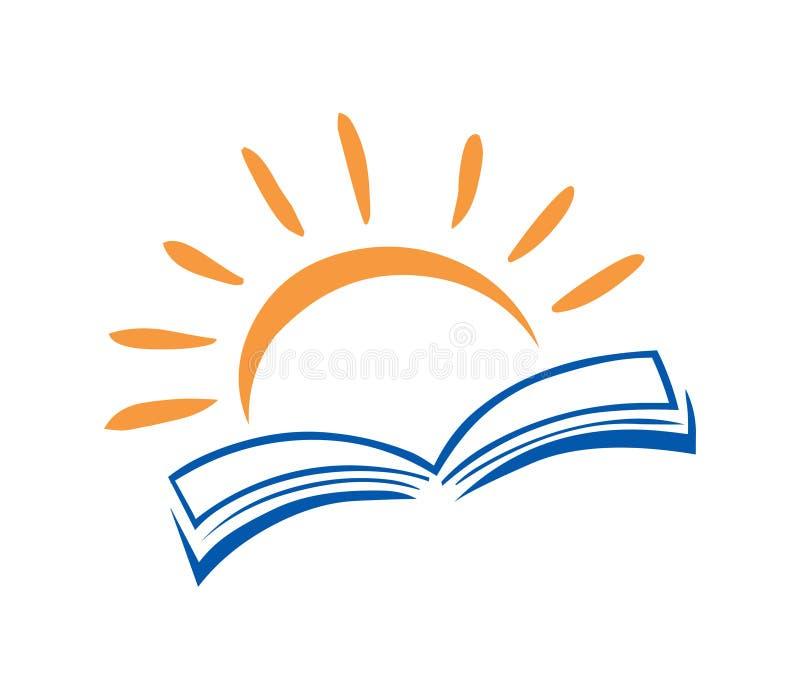 Vektor för bok- och sollogosymbol Utbildningslogo stock illustrationer