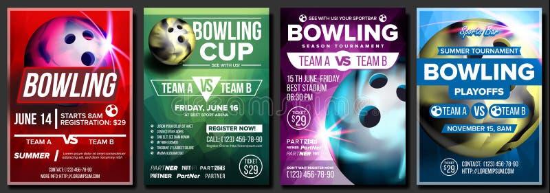 Vektor för bowlingaffischuppsättning Design för sportbaren, kafé, stångbefordran Bowla klubbabollen Modern turnering Sporthändels stock illustrationer